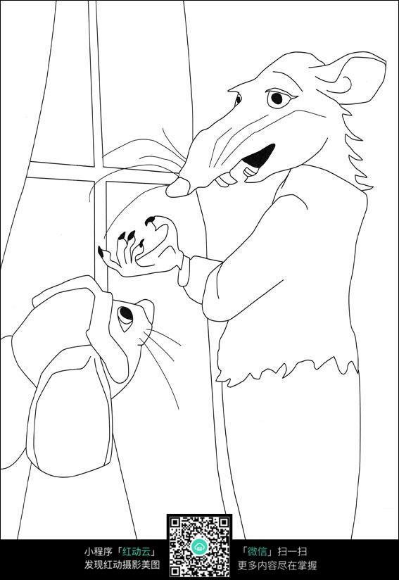 卡通小老鼠老鼠妈妈手绘线描画