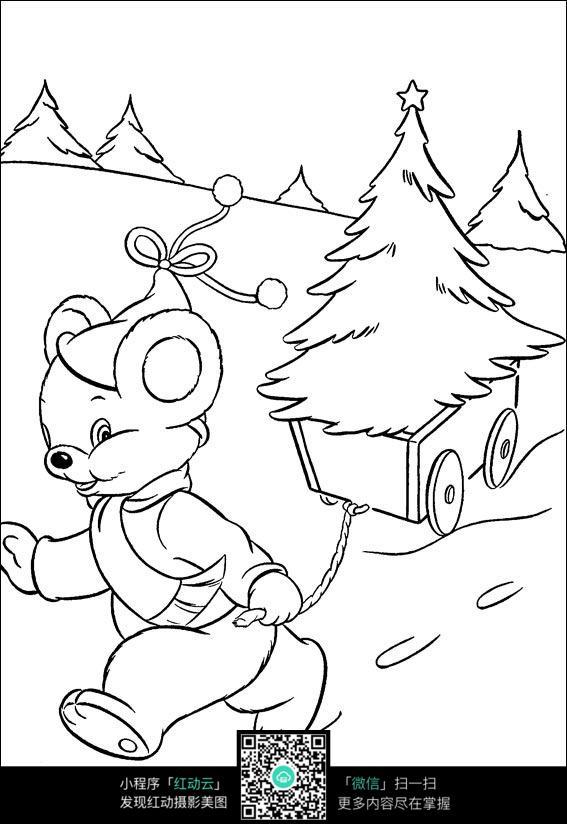免费素材 图片素材 漫画插画 人物卡通 卡通小老鼠拉着圣诞树