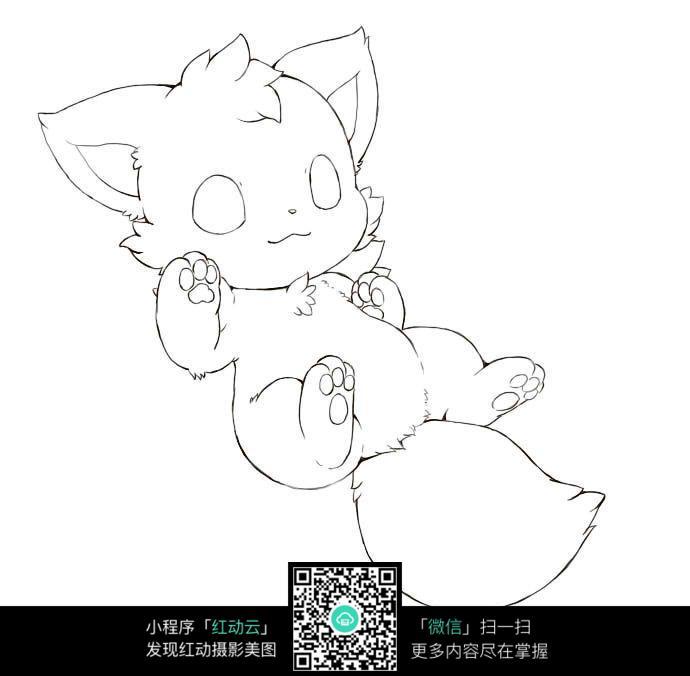 卡通小猫动漫线描