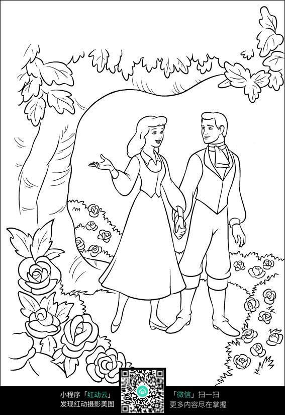 免费素材 图片素材 漫画插画 人物卡通 卡通在花丛中的情侣手绘线描图