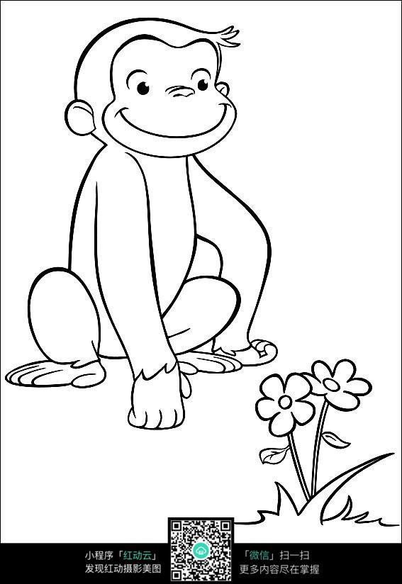 卡通摘花的猴子手绘线描图