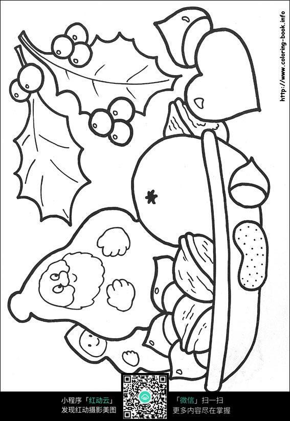 卡通摘水果的老爷爷手绘线描画图片