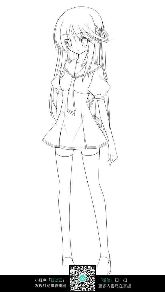 卡通站立的女孩