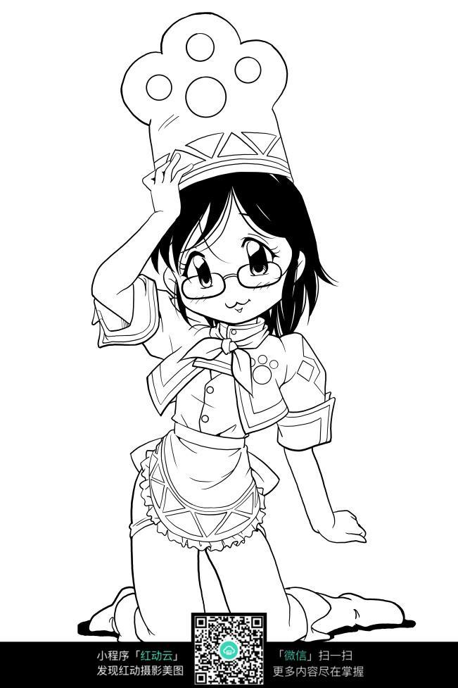 可爱的小女孩线描_人物卡通图片_红动手机版