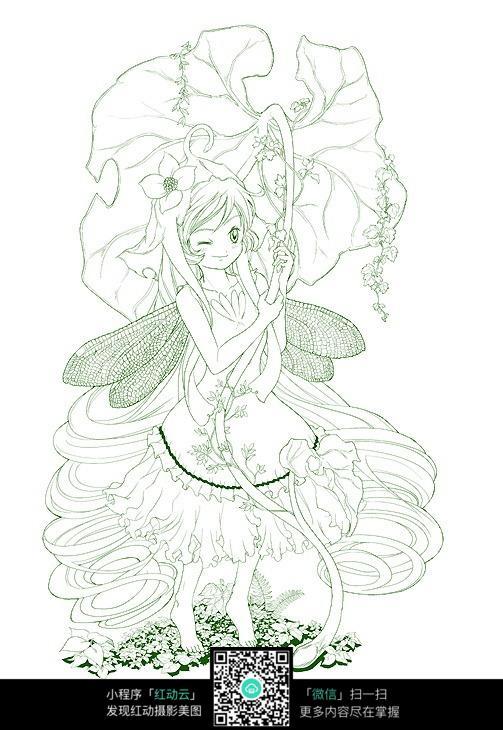 免费素材 图片素材 漫画插画 人物卡通 可爱的女孩线描