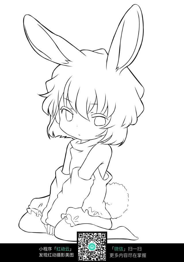可爱的兔耳朵女孩线描