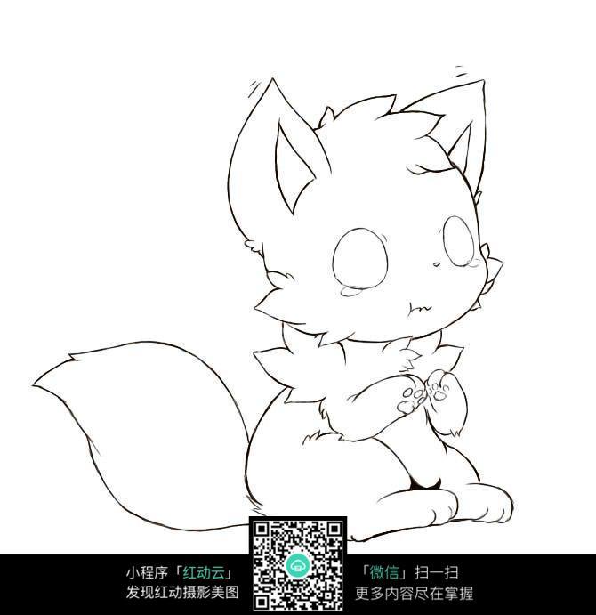 免费素材 图片素材 漫画插画 人物卡通 可爱的小猫线描手绘