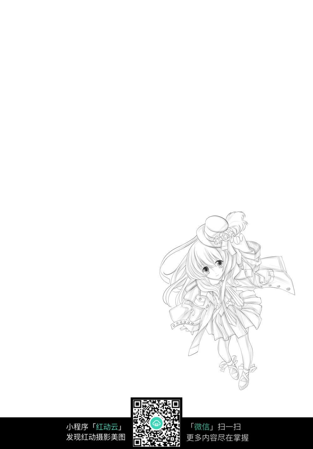 可爱小游戏人物线描图片_人物卡通图片