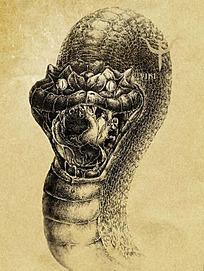 恐怖的蛇钢笔线描画