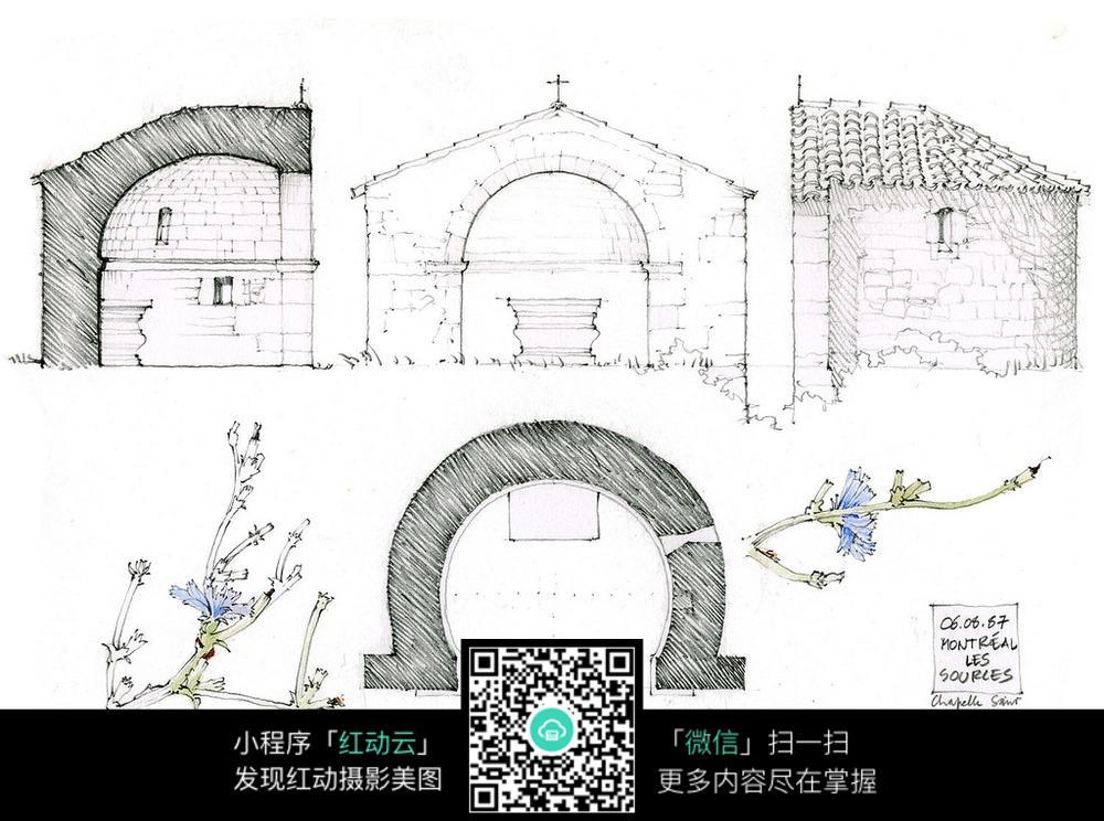 老建筑拱形门框手绘线描图