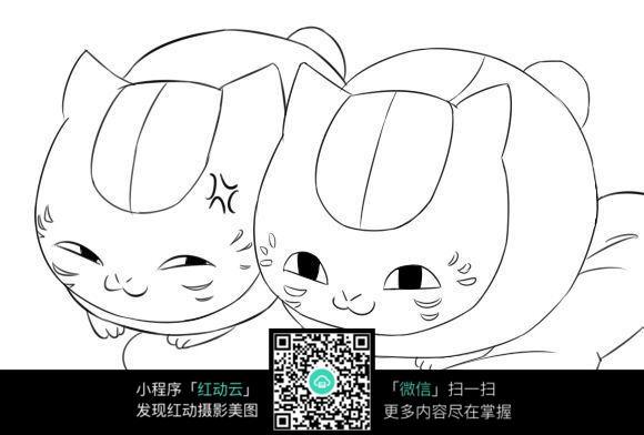 两只可爱的小猫线描