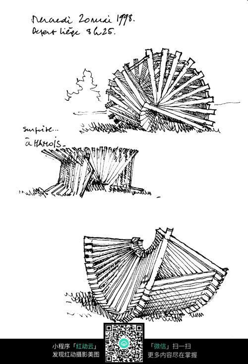 立体雕塑手绘线描图图片