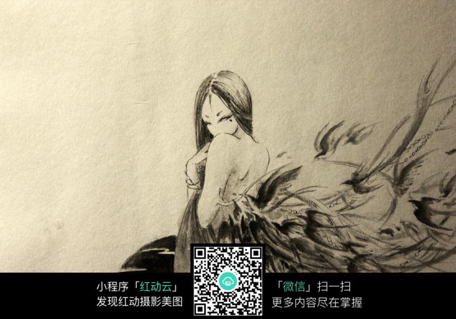 露背的美女水彩素描画图片