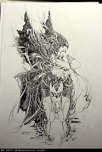 美女面具手绘钢笔线描画