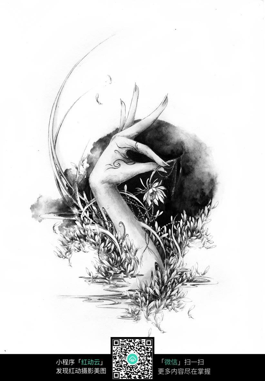 免费素材 图片素材 漫画插画 人物卡通 《梦落》创意美手黑白水墨线描图片