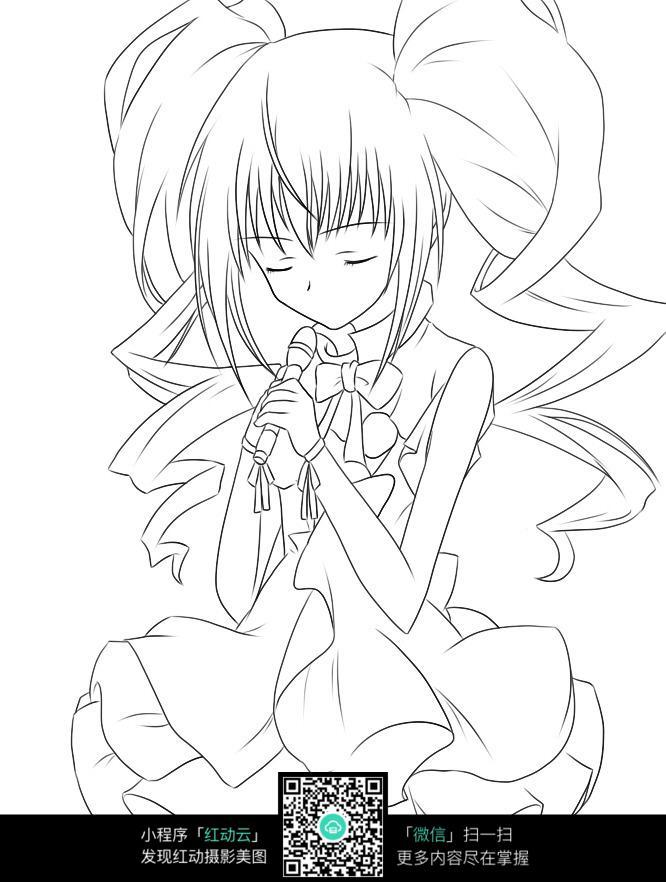 女孩安静的唱歌线描图片 人物卡通图片