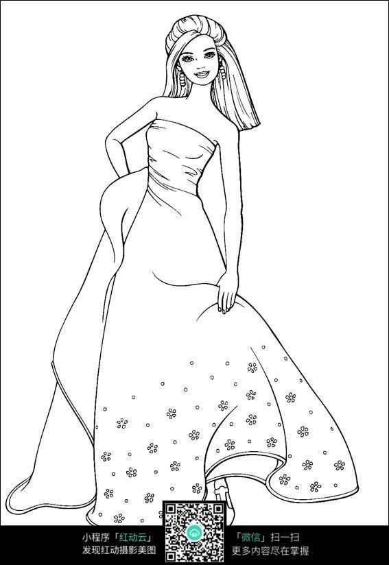 女孩穿着礼服走路_人物卡通图片