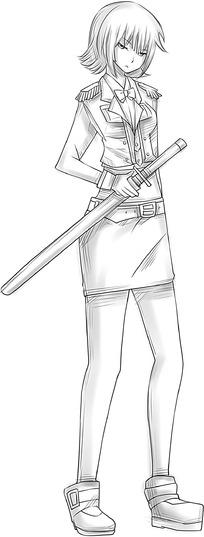 女孩和剑卡通手绘线稿图片_人物卡通图片