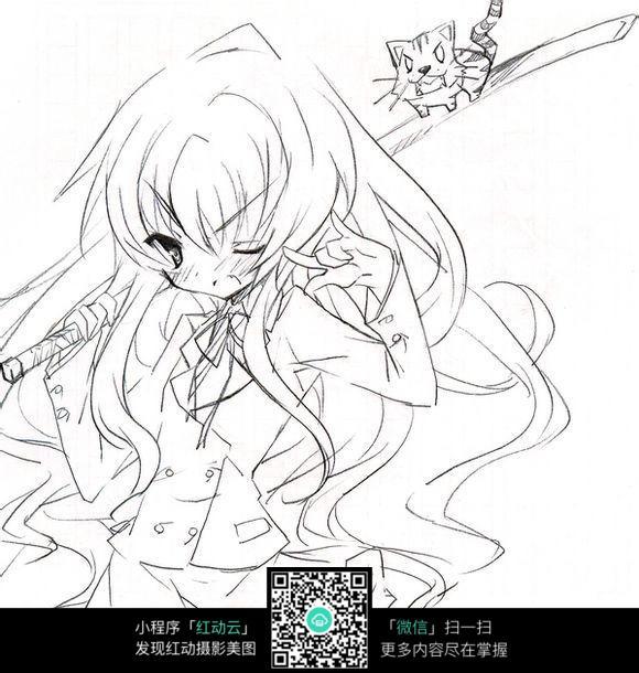 女孩和猫卡通手绘线稿