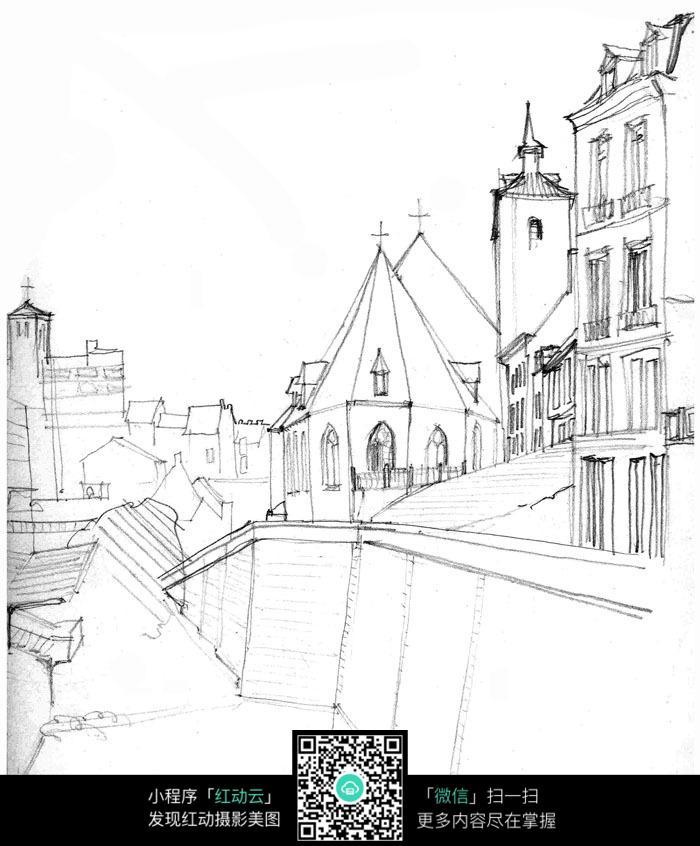 欧美街道城市建筑手绘