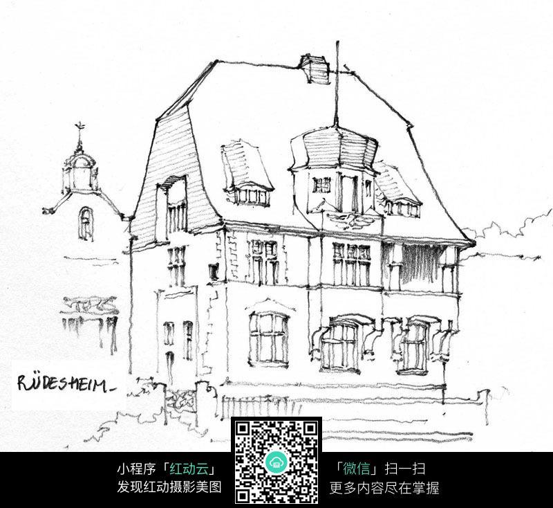欧美街道房屋手绘线描_建筑设计图片