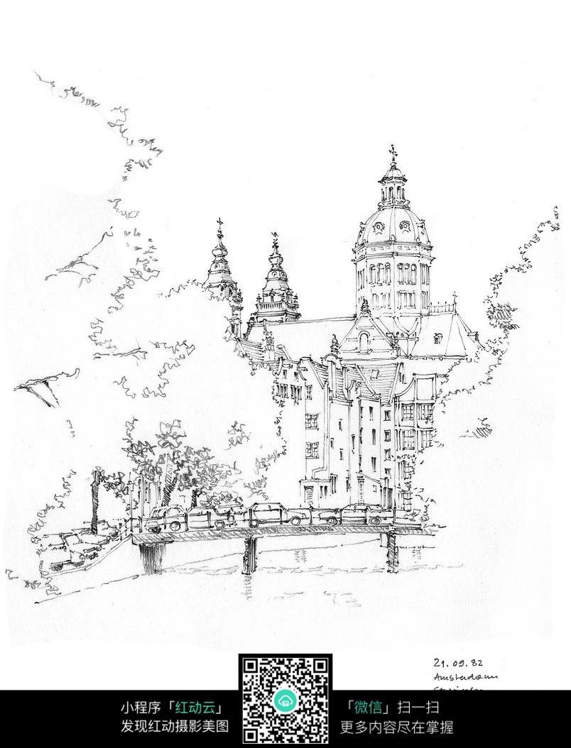 欧式别墅建筑手绘图图片
