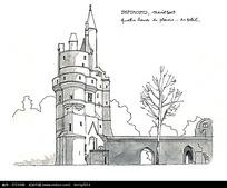 欧式城堡建筑手绘线描图