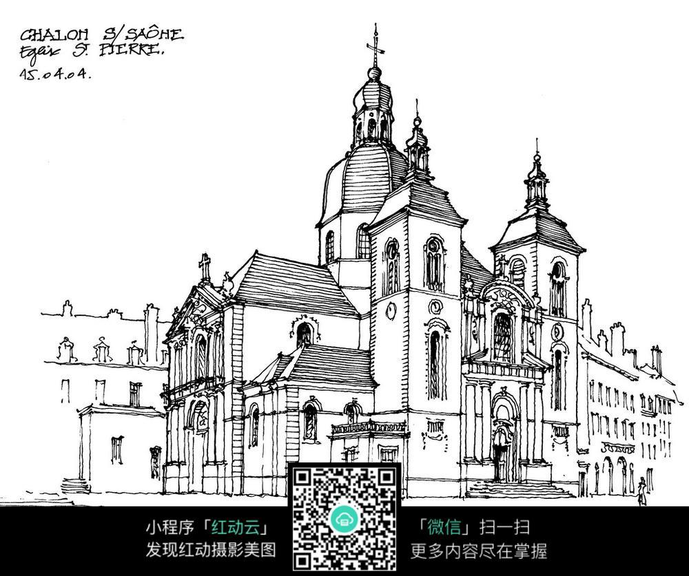 欧式城市建筑街景手绘线描图