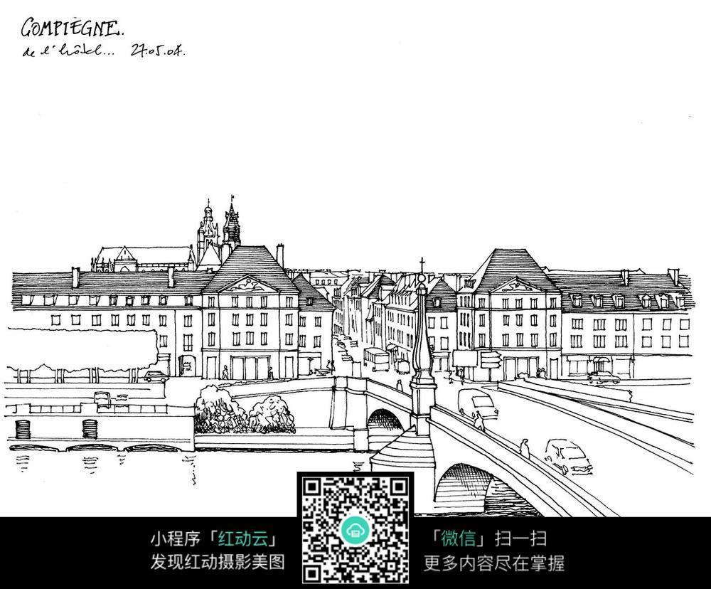欧式城市建筑桥梁手绘线描图