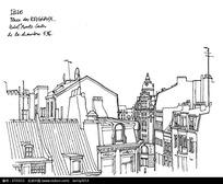 欧式城市建筑手绘线描图