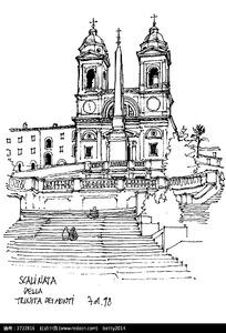 欧式大教堂手绘图图片
