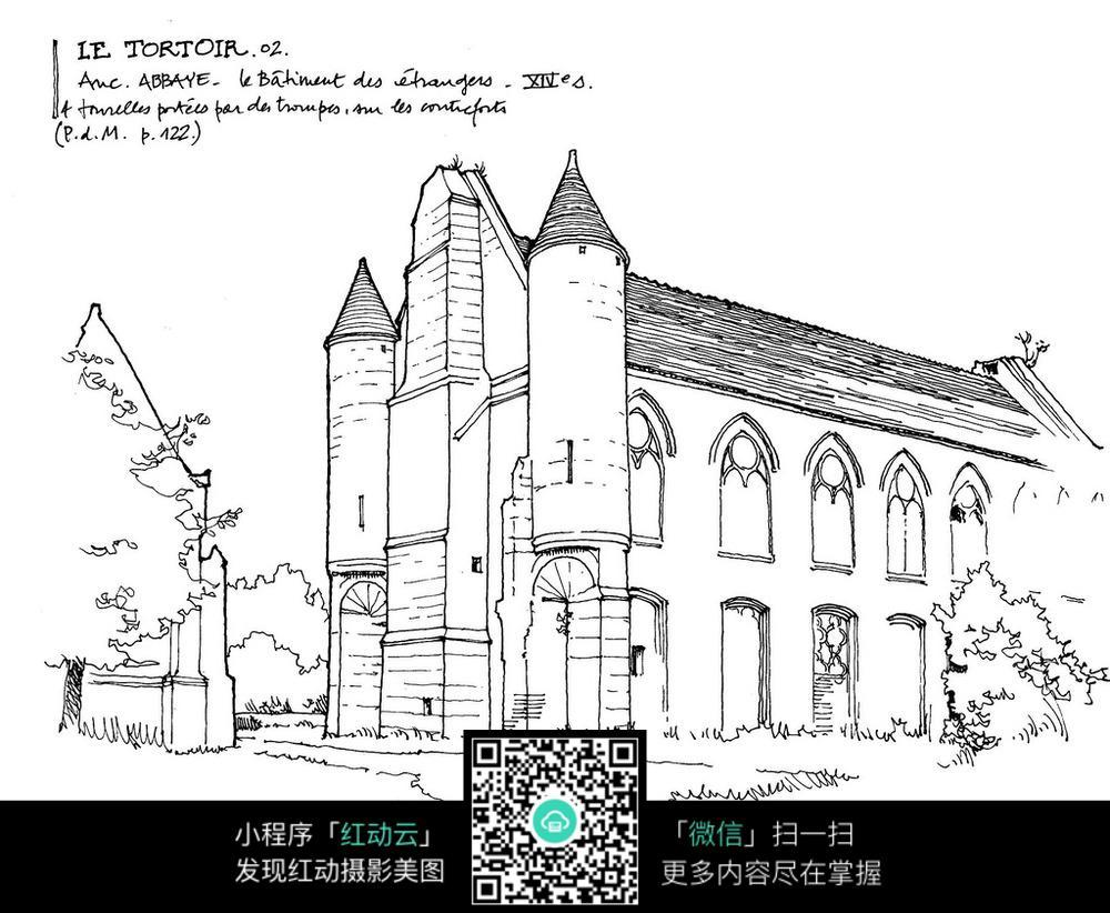 东南亚建筑物简笔画-欧式风格建筑简笔手绘线描图图片免费下载 编号3723492 红动网