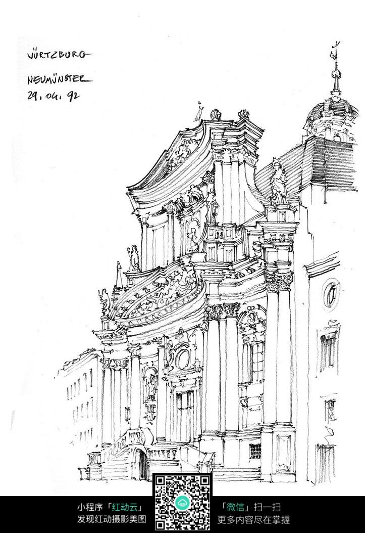 欧式宫廷建筑风格手绘线描图