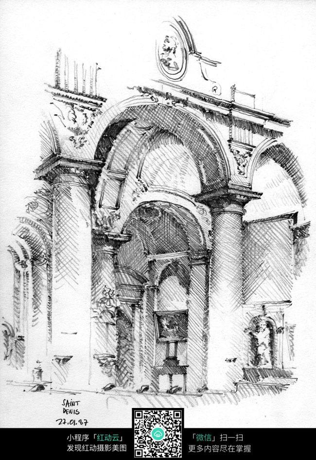 免费素材 图片素材 环境居住 建筑设计 欧式宫廷柱手绘素描画  请您