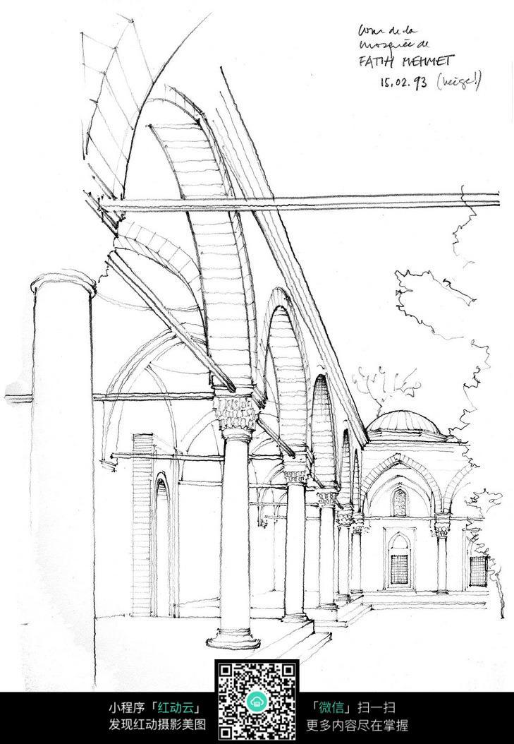 欧式拱形建筑内部手绘线描图