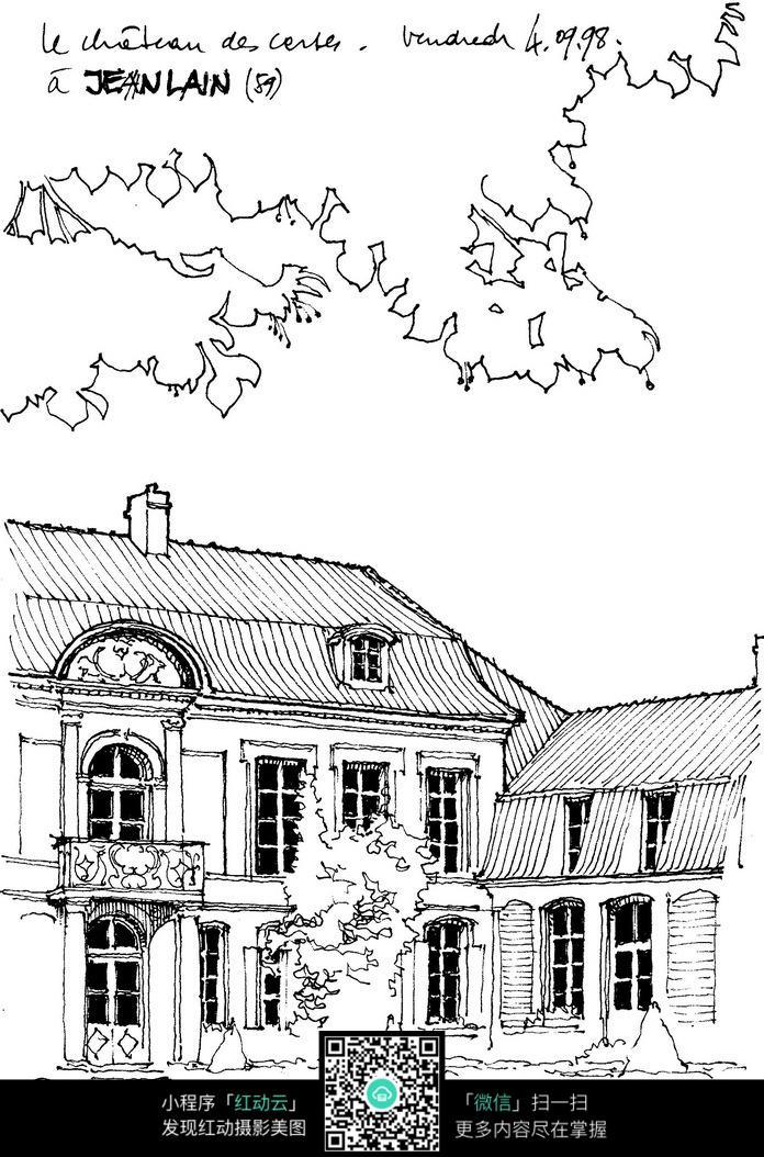 欧式古建筑景观手绘线描图