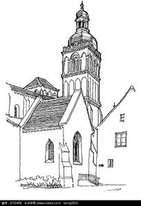 欧式古建筑手绘线描图