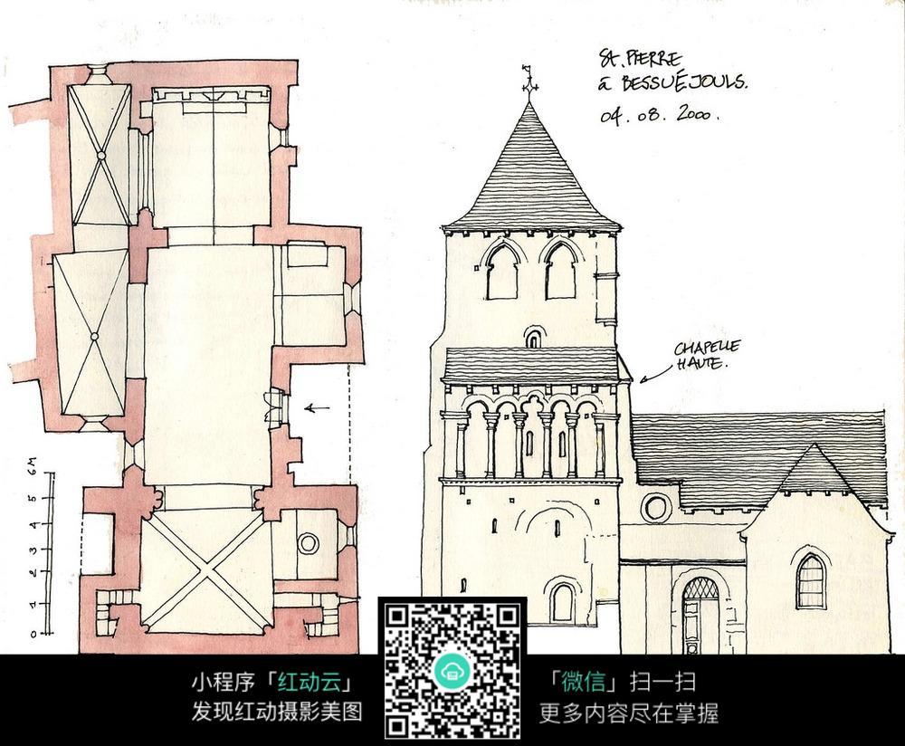 欧式古老尖顶建筑平面图手绘线描图