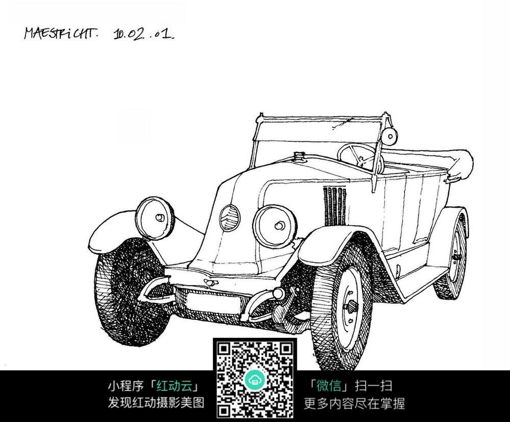 欧式古老汽车手绘线描图