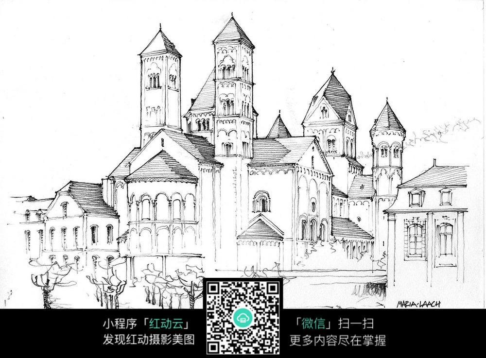 欧式尖顶建筑道路景观手绘线描图