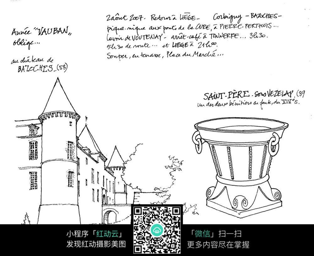 欧式尖顶建筑古董手绘线描图图片