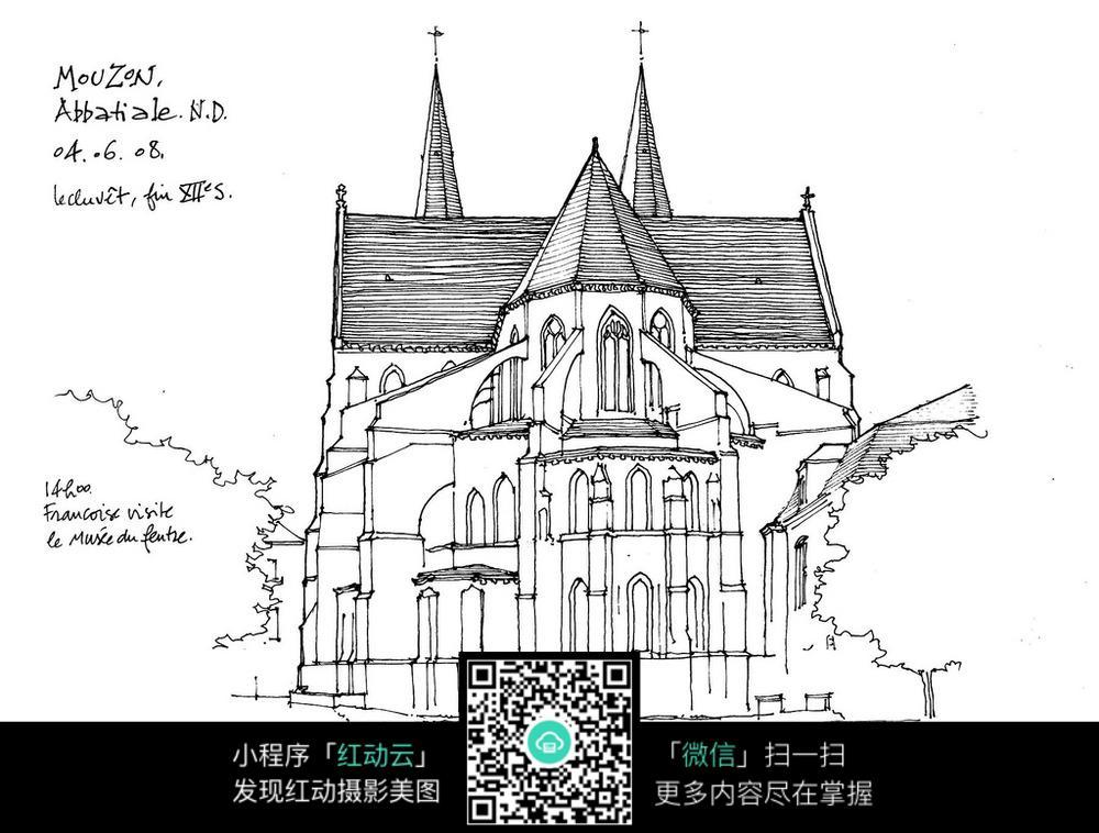 欧式尖顶建筑简笔手绘线描图