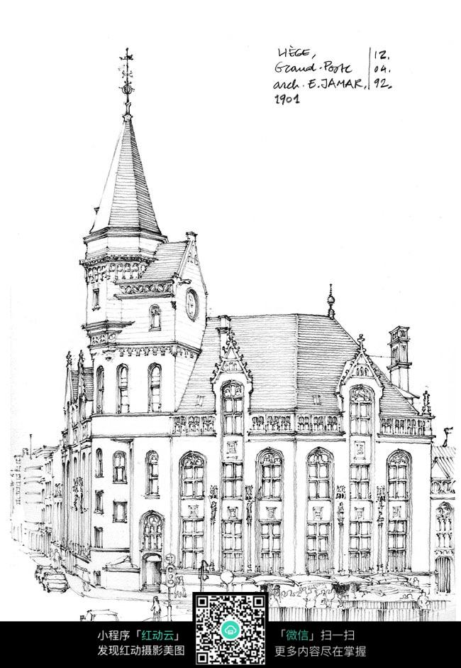 欧式尖顶建筑街景手绘线描图