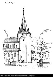 欧式尖顶建筑景观钢笔画图片