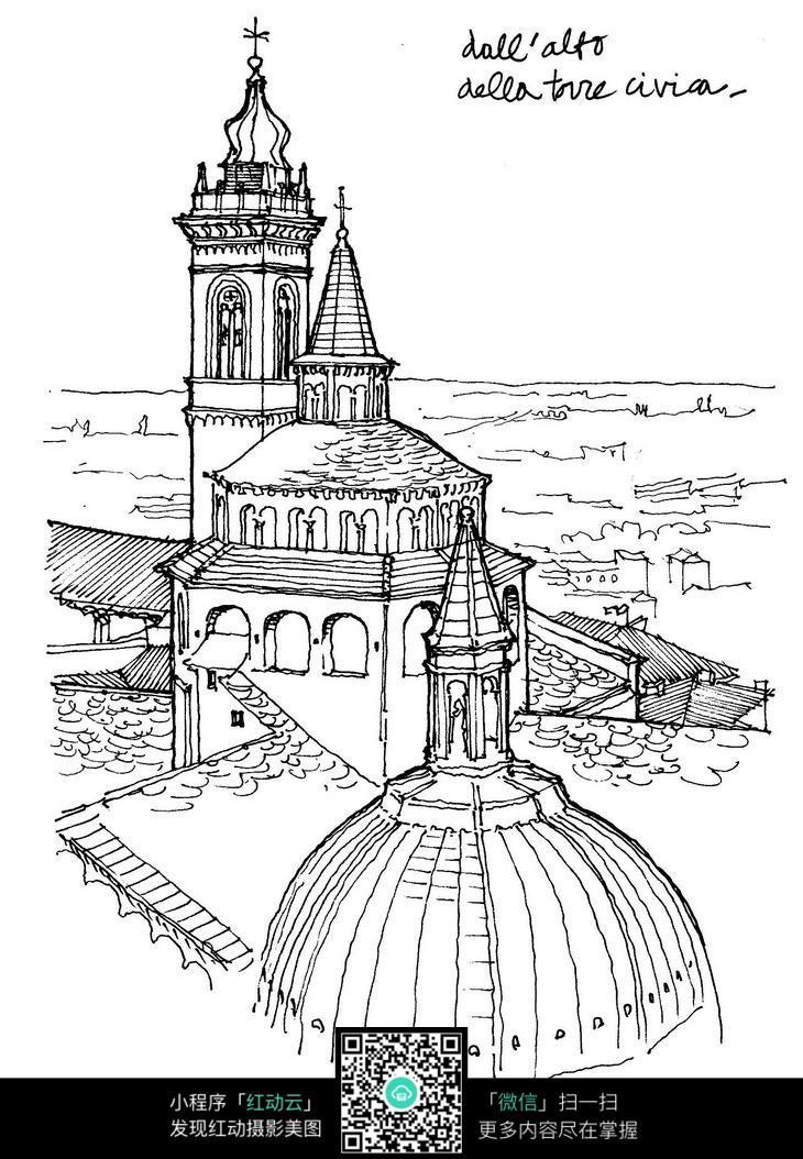 欧式尖顶建筑景观手绘线描图