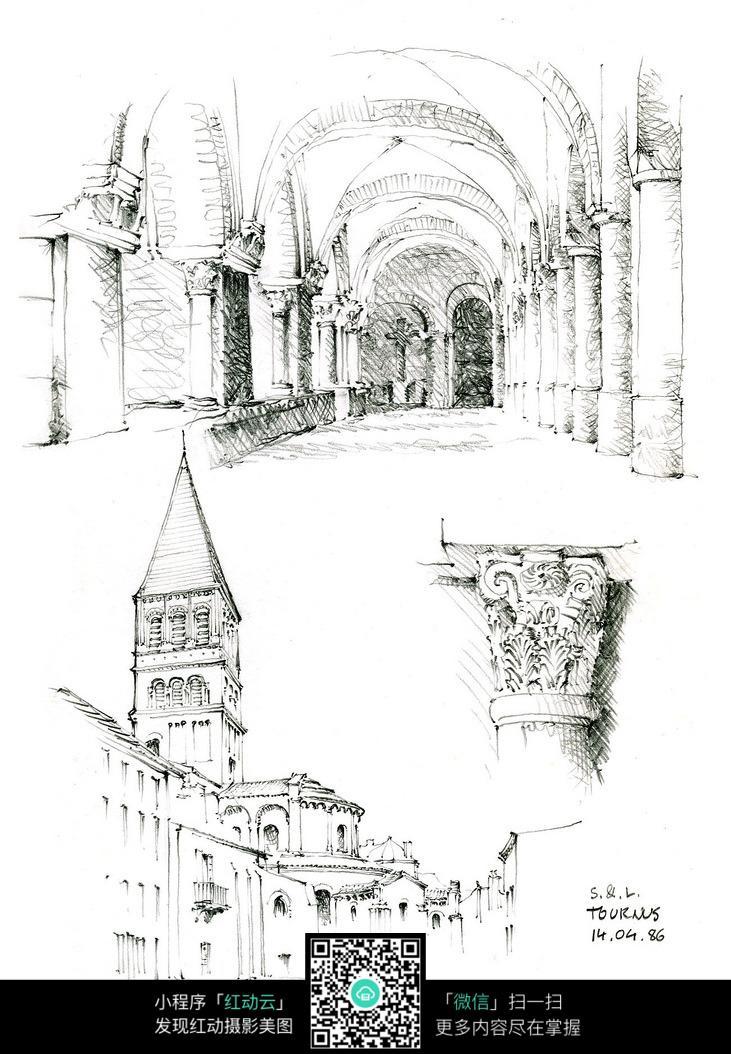 欧式尖顶建筑精美柱子手绘线描图