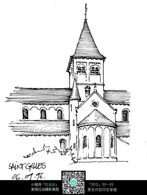 欧式尖顶建筑立面手绘线描图
