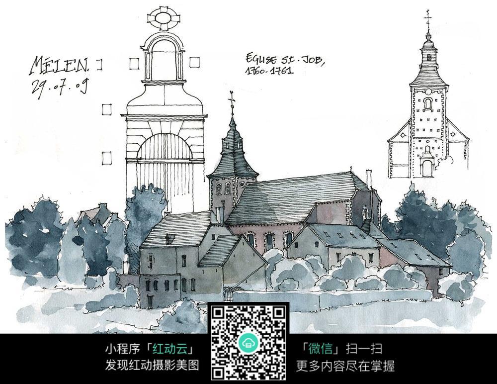 欧式尖顶建筑手绘水彩线描图