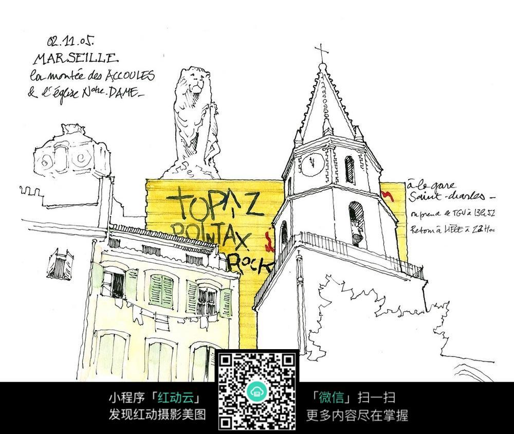 欧式尖顶建筑手绘线描图