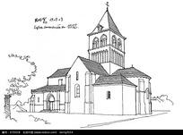 欧式尖顶教堂建筑手绘线描图